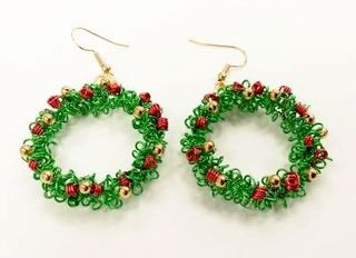 Wirework Christmas Wreath Earrings Kit With Swarovski Elements Red